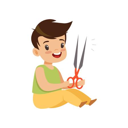 Jongen speelt met een schaar, kind in gevaarlijke situatie vector illustratie geïsoleerd op een witte achtergrond.