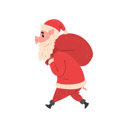 Pig character in Santa costume walking with red gift sack, Chinese symbol of New Year, design element for Christmas card, calendar, invitation vector Illustration isolated on a white background. Ilustração