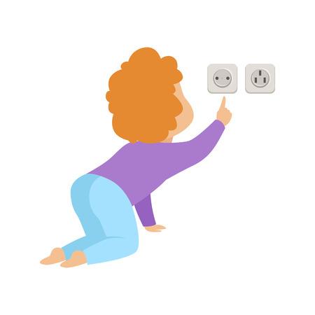 Schattige peuter baby aanraken van een stopcontact, kind in gevaarlijke situatie vector illustratie geïsoleerd op een witte achtergrond.