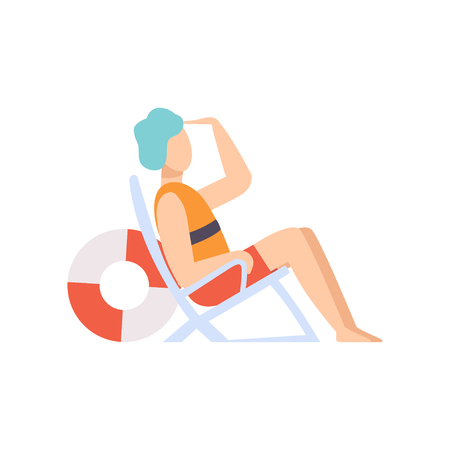Male lifeguard sitting in a chair looking into the distance, professional rescuer character working on the beach vector Illustration isolated on a white background.