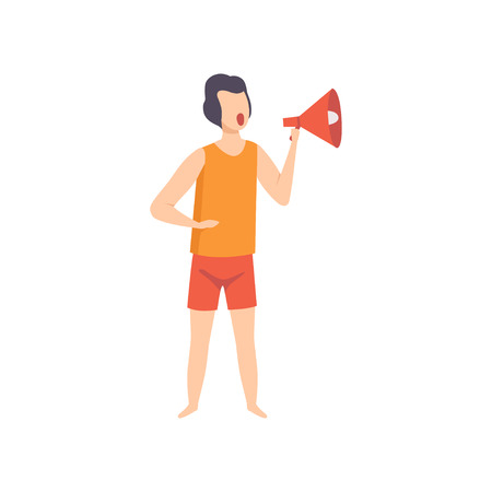 Male lifeguard shouting into a megaphone, professional rescuer character working on the beach vector Illustration isolated on a white background.