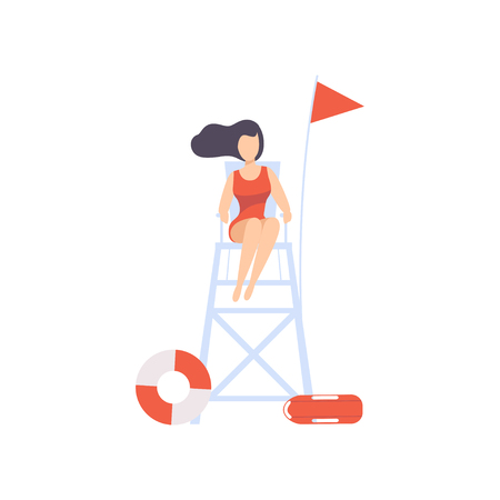 Female lifeguard sitting on lookout tower, professional rescuer character working on the beach vector Illustration isolated on a white background.