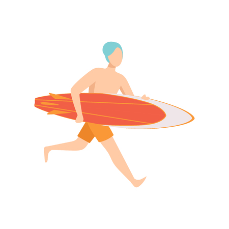 Male lifeguard running with surfboard, professional rescuer character working on the beach vector Illustration isolated on a white background.