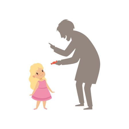 Extraño sospechoso que ofrece un caramelo a una niña, niño en vector de situación peligrosa ilustración aislada sobre fondo blanco. Ilustración de vector