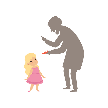 Suspicious stranger offering a candy to a little girl, kid in dangerous situation vector Illustration isolated on a white background. Stock Illustratie