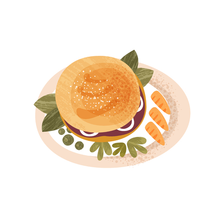 Plate with big appetizing burger decorated with greens and carrot. Tasty vegetarian dish. Delicious food for breakfast. Colorful icon with texture. Flat vector design isolated on white background. 向量圖像