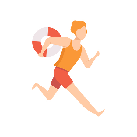 Male lifeguard character running with lifebuoy, professional rescuer character working on the beach vector Illustration isolated on a white background.