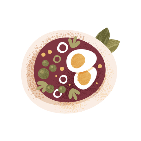 Fresh vegetable soup with greens and boiled eggs. Delicious dish for breakfast of dinner. Graphic element for advertising poster of culinary school. Flat vector icon with texture isolated on white.