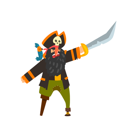 Bearded pirate character with wooden leg pointing with sword vector Illustration isolated on a white background.