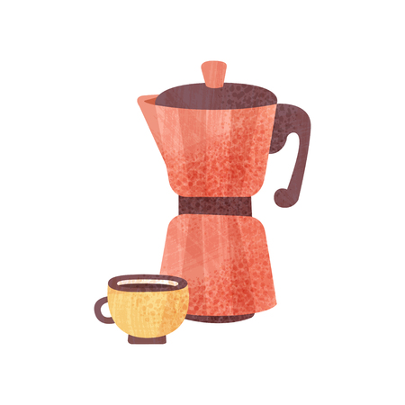 Icon of bright red coffeepot and cup of fresh coffee with texture. Hot beverage for breakfast. Tasty drink. Element for poster or banner. Colorful flat vector illustration isolated on white background