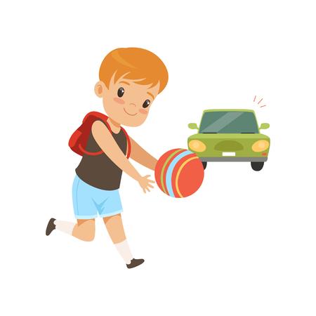 Jongen met een bal spelen voor rijdende auto, kind in gevaarlijke situatie vector illustratie geïsoleerd op een witte achtergrond.