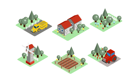 Set of isometric farm icons. Tractors, field with harvest, wooden barns, windmill and garden. Agricultural compositions. Modern 3D style. Flat vector illustrations isolated on white background. Ilustração Vetorial