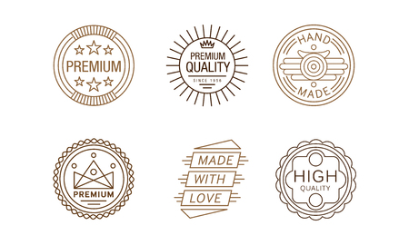 Vector set of creative linear label for handmade goods. Made with love. Elements for business card or packaging