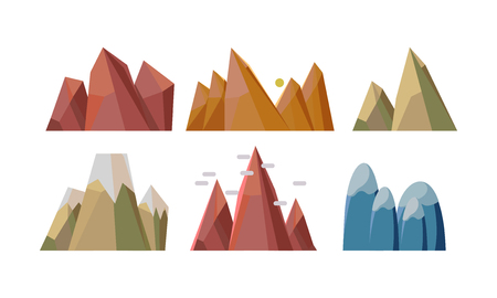 Set of different rocky mountains. Nature landscape elements for mobile game background. Climbing or mountaineering theme. Cartoon style icons. Colorful flat vector illustrations isolated on white.
