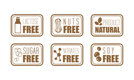 Collection of 6 ingredient warning labels. Common allergens lactose, nuts, sugar, nitrates and soy. Natural product. Monochrome emblems with text. Vector illustrations isolated on white background.