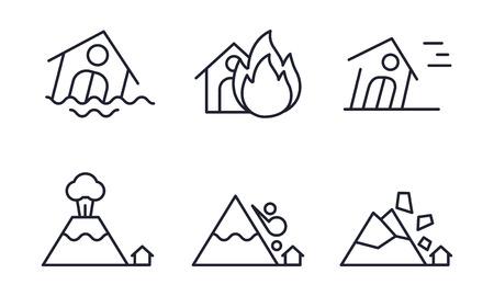 Set di icone di disastro naturale, alluvione, incendio, uragano, eruzione vulcanica, caduta massi, valanga di neve vettoriale illustrazione su sfondo bianco Vettoriali