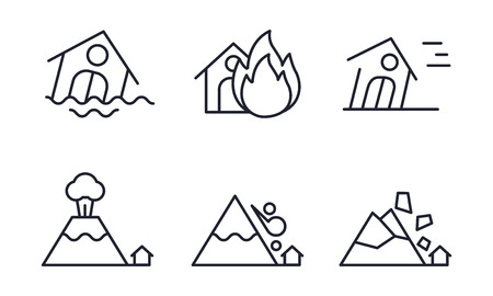 Natural disaster icons set, flood, fire, hurricane, volcanic eruption, rockfall, snow avalanche vector Illustration on a white background