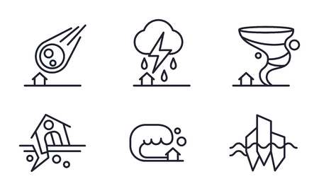 Natural disaster icons set, meteorite fall, thunderstorm, hurricane, earthquake, tsunami vector Illustration isolated on a white background. Vectores