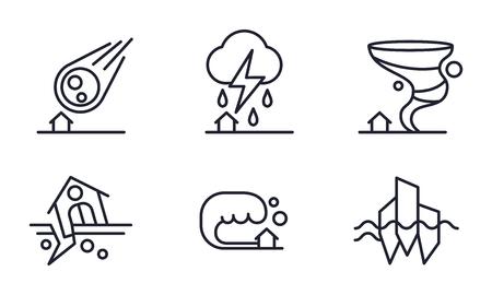Conjunto de iconos de desastres naturales, caída de meteorito, tormenta, huracán, terremoto, tsunami vector ilustración aislada sobre fondo blanco.