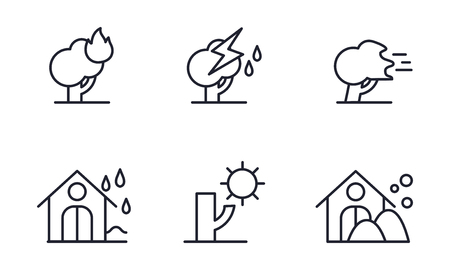 Natural disaster icons set, forest fire, thunderstorm, storm, rain, drought, snowfall vector Illustration isolated on a white background.