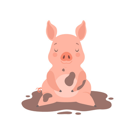 Cute little pig sitting in a dirty puddle, funny piglet cartoon character vector Illustration isolated on a white background.