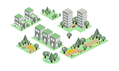 Collection of colorful isometric city elements. Parks with benches and green trees, private houses and high-rise buildings. Icons in modern 3D style. Vector illustrations isolated on white background.