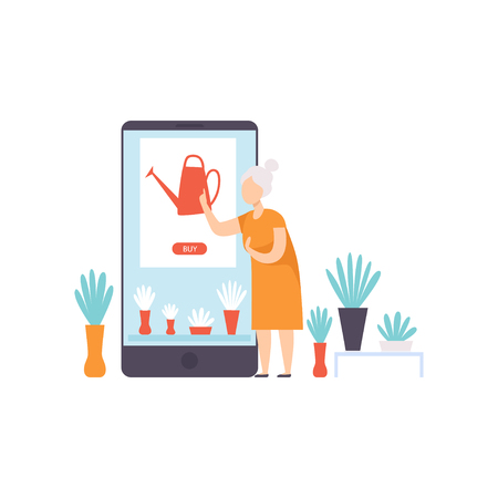 Elderly woman buying a watering can from an online store using a smartphone, internet shopping and delivery concept vector Illustration on a white background Иллюстрация