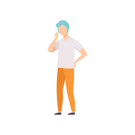 Young man in casual clothes thinking of something vector Illustration isolated on a white background.