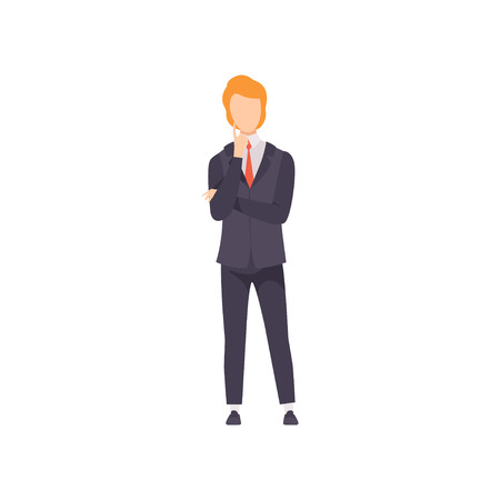 Businessman thinking or making decision vector Illustration isolated on a white background. Vetores
