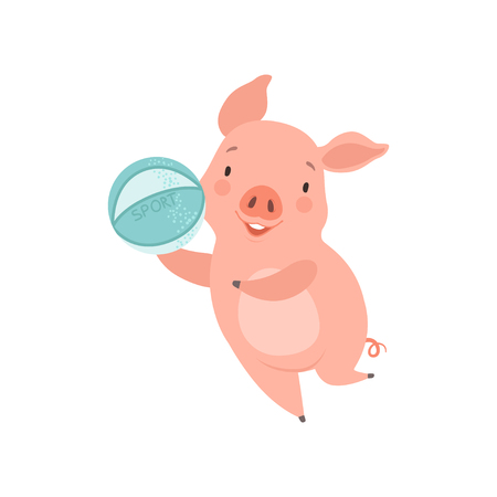 Cute little pig playing with ball, funny piglet cartoon character having fun vector Illustration isolated on a white background.