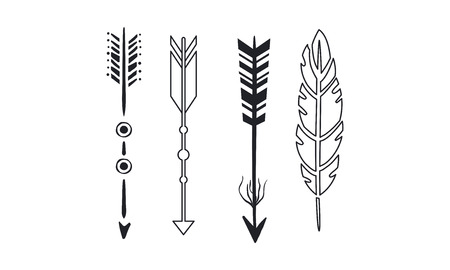Tribal arrows set, black vintage arrows and feathers vector Illustrations isolated on a white background.
