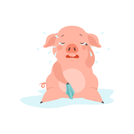 Cute sad little pig crying, funny piglet cartoon character vector Illustration isolated on a white background.