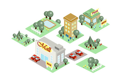 City landscape, environment elements with buildings and parks, user interface assets for mobile apps or video games details vector Illustration Illustration