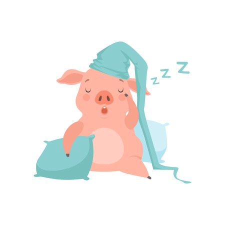 Cute little pig in light blue nightcap sleeping on pillows, funny piglet cartoon character vector Illustration isolated on a white background. Illustration