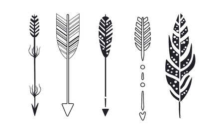 Tribal arrows set, black decorative arrows and feathers vector Illustrations isolated on a white background.