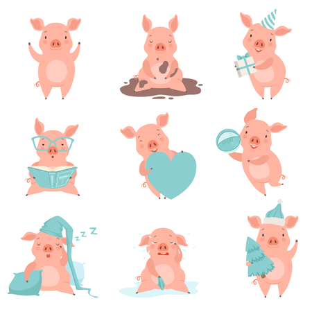 Cute cheerful little pink pigs set, funny piglets cartoon characters in different situations vector Illustration isolated on a white background.  イラスト・ベクター素材