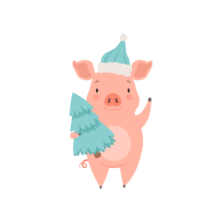 Cute little pig wearing Santa hat standing with fir tree, funny piglet cartoon character vector Illustration isolated on a white background. Illustration
