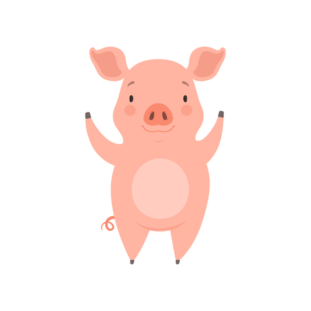 Cute cheerful little pig, funny piglet cartoon character vector Illustration isolated on a white background.