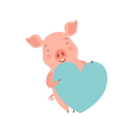 Cute happy   little pig with light blue heart, funny piglet cartoon character vector Illustration on a white background Illustration