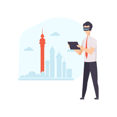 Man wearing virtual reality digital glasses using tablet, guy using optical device for real visualisation and simulation vector Illustration isolated on a white background. Ilustracja