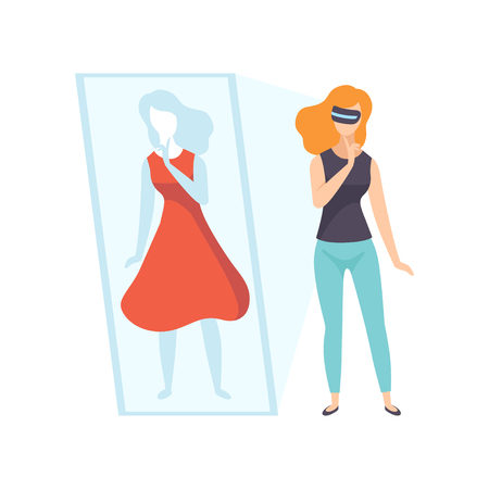 Young woman trying on red dress wearing virtual reality digital glasses, girl using optical device for real visualisation and simulation vector Illustration isolated on a white background.