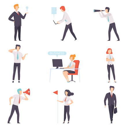 Businessmen and businesswoman set, successful business characters at work in office vector Illustration isolated on a white background. Illustration
