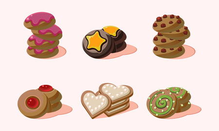 Collection of home made cookies with different flavours. Sweet snack for breakfast or tea break. Graphic elements for bakery shop menu or product packaging. Isolated vector illustrations in flat style Çizim