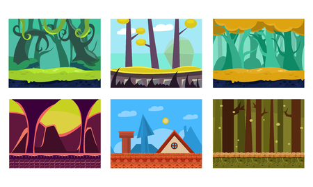 Collection of 6 scenes for mobile and computer game. Colorful cartoon backgrounds with green jungles, house roof, fantastic forest and dungeon. Gaming interface. Vector illustrations in flat style.