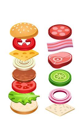 Burger with flying ingredients. Delicious snack for lunch. Tasty fast food. Cooking theme. Graphic element for cafe or restaurant menu. Colorful flat vector illustration isolated on white background.