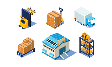 Vector set of isometric warehouse and logistics elements. Cargo truck, loading equipment, building, metal shelves and pallets with packages boxes. Storage and transportation. Colorful 3D icons.