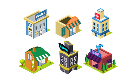 Collection of city constructor elements. Modern public buildings. Police department, market, hairdressing salon, hospital and bar. Isometric vector icons. Flat vector illustrations isolated on white.