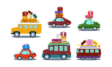 Set of different colorful automobiles with luggage on roof. Bus, van and car. Road trip theme. Cartoon style icons. Graphic elements for poster or mobile game. Flat vector design isolated on white. Ilustracja
