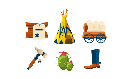 Set of cartoon attributes of wild west. Cowboy s boot, wigwam, green cactus, wooden board with wanted poster and carriage. Graphic elements for mobile game. Isolated vector illustrations in flat style