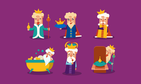 Set of king with different emotions. Old man with golden crown. Funny cartoon character. Graphic elements for postcard or children book. Colorful flat vector design isolated on purple background.